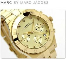 MARC JACOBS GOLD DIAL GOLD TONE STAINLESS STEEL CHRONOGRAPH LADIES WATCH MBM3101