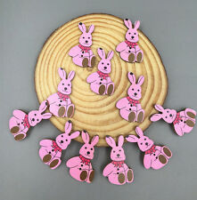 20pcs Pink Mr. Rabbit Sewing Buttons Wooden decoration scrapbooking Crafts 30mm