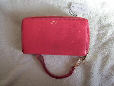 Fossil NWT Sydney Tomato Zip Phone Wrislet Leather Clutch Organizer Wallet NICE!