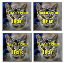 YOUR OWN CATS PHOTO PERSONALISED SET OF 4 COASTERS - BRAND NEW - GIFT / PRESENT