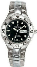 New Croton Mens Sport Diver Calendar Silver/Black Watch