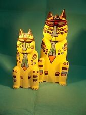 2 CATS-WOOD-HAND CARVED & PAINTED-BALI ART-LAUREL BURCH STYLE-FATHER & SON-TIE