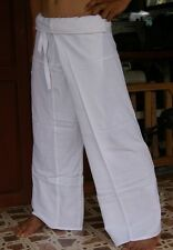 Thai Fisherman Trousers Pants Yoga Samurai Kung Fu Tai Chi Gypsy Maternity White