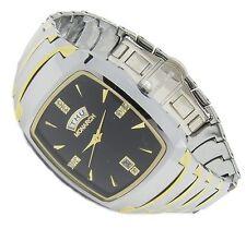 Luxus Tungsten Wolfram Herren Armband Uhr Datum CZ Diamant Jakobsburg Tag GOLD B