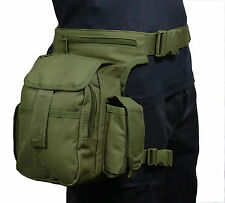 Verde oliva Tactical Cintura Multi Pack With Leg Strap-Airsoft Caza Hip Bolsa