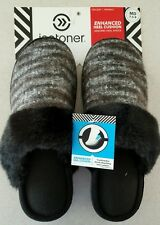 NWT $26 Isotoner Women's 7.5-8 MED Slippers BLACK Mary Claire Clogs FUR  #401216