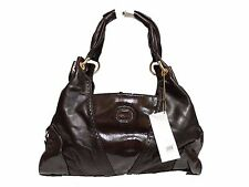 NWT Perlina Satchel Bag Brown /Brown Patent Leather W/2Open Compartments