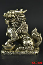 Collectible China Vintage Old Copper Silver Plate Lion Kylin Dragon Statue NR