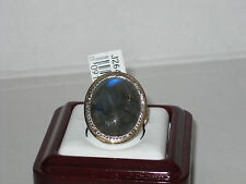 Oval Labradorite Ring with Diamond Cut Border 14K Gold  Size 7 $266