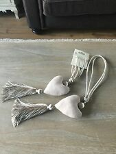 PAIR HEART SHAPED CURTAIN TIEBACKS PADDED TAUPE TASSEL SHABBY CHIC *FREE P & P*