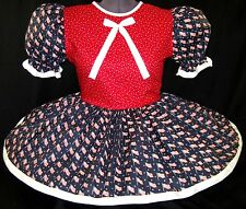 "Cute Red White & Blue Adult Little Girl Baby Sissy Dress 44"" LEANNE"