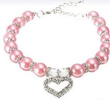 NEW Pink Pearl Dog Collar With Silver Heart BLING for Your Pig Cat Duck DIVA Med