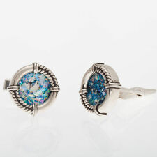 Stylish 925 Sterling Silver Authentic Roman Glass Cuff Links Men Jewelry