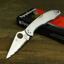Spyderco Delica 4 VG-10 Serrated Edge Stainless Handle Folding Knife C11S