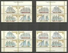 Canada #744-747 (747a), 1977 12c Sailing Vessels / Ships, 4-Corner PB4 Set NH