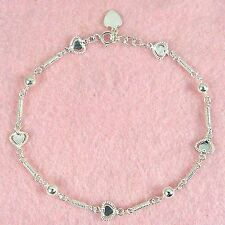 Sterling Silver - 10 Inch Heart Anklet (AK070)