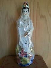 Chinese Kwan Yin Buddha Stand Dragon Statues 15H x 5.5w Porcelain