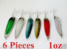 6 pcs casting 1oz crocodile spoons fishing lures Combo