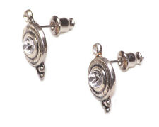 ELIZABETHAN VINTAGE SILVER ART DECO STYLE WHITE DIAMANTÉ STUD EARRINGS (ZX54)