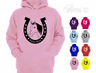 PERSONALISED HORSE SHOE RIDING DESIGNER GIRLS KIDS CHILDRENS HOODIE HOODY