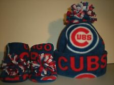CUBS BABY HAT HANDMADE newborn BOOTIES SET cubbies CHICAGO world series mlb