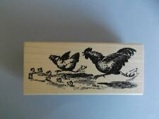 100 PROOF PRESS RUBBER STAMPS RUNNING CHICKEN FAMILY NEW STAMP