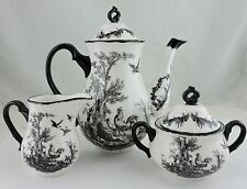AUX AU PROVENCE TEA SET POT,CREAMER,SUGAR,BLACK,WHITE,FRENCH COUNTRY,ROOSTER