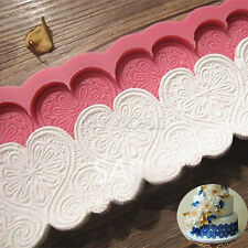 Vintage Heart Lace Embossed Silicone Fondant Mould Cake Decor Sugar Icing Mold