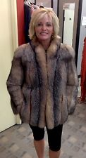 Brown Crystal Fox Fur Coat Jacket - Medium/Small - Vintage