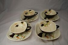 4 Saucers 4 Cups Red Wing Lotus Bronze Mid Century Oriental Japanese China Japan