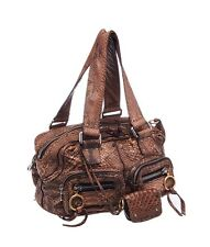 Chloe Brown Python Betty Zip Satchel Tote