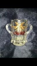 MOSSER MINIATURE GLASS SPOONER OR TOOTHPICK HOLDER CHERRY & CABLE THUMB PRINT