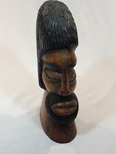 VINTAGE JAMAICAN AFRICAN MAN HAND CARVED WOOD BUST/HEAD SCULPTURE