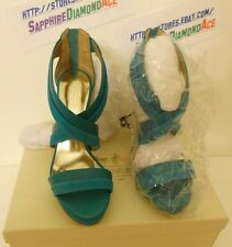 COACH BRYNN HEEL Camel Platform Sandals Shoes  TEAL A3736 Size 9 M BRAND NEW!
