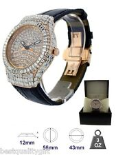 SWISS-BLING MASTER BANG BLACK PATENT LEATHER,ROSE GOLD PAVE CRYSTAL GLITZ WATCH