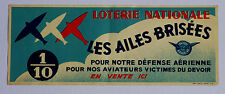 Affichette ancienne Loterie Nationale litho Aviation Chaix 1938