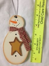 snowman Christmas ornament Multi-Color wood star scarf personalized free country
