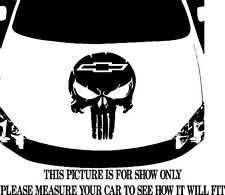 PUNISHER SKULL w/ CHEVY LOGO VINYL DECAL HOOD SIDE FOR CAR TRUCK
