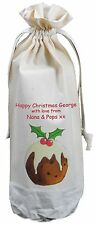 PERSONALISED - CHRISTMAS PUDDING - COTTON WINE BOTTLE BAG - Add your message!
