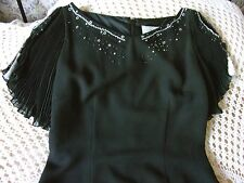 Black formal fitted cocktail party dress by SIMON ELLIS Size 12 Silver adornment