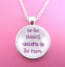 Be The Shiniest Unicorn In the Room Silver Glass Necklace New in Gift Bag