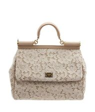 Dolce & Gabbana Miss Sicily Tan Fabric Satchel