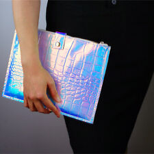 Holographic pad Case Metallic Crocodile Hologram Shine Leather Envelope Clutch
