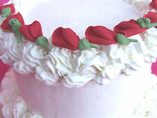 "80 1 1/4"" Edible Red Rosebuds Royal Sugar Icing Flowers Cupcake Cake Toppers"