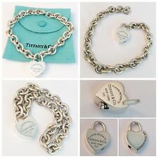 BEAUTIFUL SOLID SILVER TIFFANY & CO 'RETURN TO TIFFANY' HEART PADLOCK BRACELET