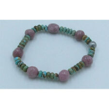 PETITE .925 Sterling Silver Natural Kingman Turquoise Rhodonite Stretch Bracelet