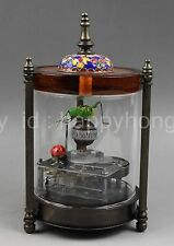 rare copper and Cloisonne make grasshopper and lady beetle mechanical watch