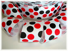 1.5 WHITE RED BLACK MAGICAL JUMBO DOTS GROSGRAIN RIBBON FOR HAIRBOW BOW