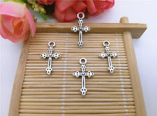 Wholesale 14pcs Tibet Silver Cross Charm Pendant Beaded Jewelry DIY 60