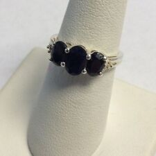 Sterling Silver Oval Faceted Midnight Blue Sapphire Ring 6